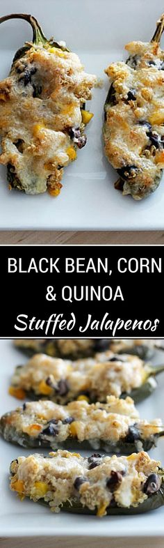 Black Bean, Corn & Quinoa Stuffed Jalapenos - These easy to make jalapeno poppers are yummy and healthy! The perfect appetizer to help you keep your health goals on track! - WendyPolisi.com