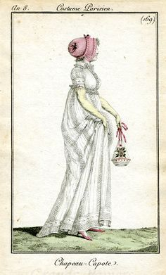 Costume Parisien.  LOVE LOVE LOVE the reticule.  And capote bonnet