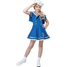 Purchase this sunny sailor girls navy costume online now at Heaven Costumes. Get ready to board the cruise ship and become a sunny sea-side sailor for your next costume party in this girls sailor fancy dress outfit! Fancy Costumes, Pet Costumes, Girl Costumes, Halloween Costumes, Sailor Costumes, Children Costumes, Costume Wigs, Costume Shop, Navy Costume