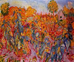 Johan Dijkstra 1896-1978. Tuin met zonnebloemen.