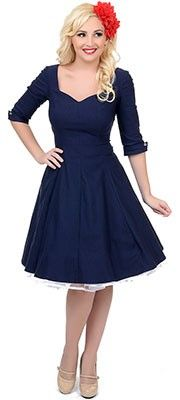 Unique Vintage Navy Three-Quarter Sleeve Grace Swing Dress