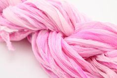 Georgette Ribbon Light Pink Reclaimed Silk from DGY