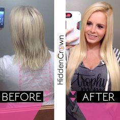 Like if you're amazed by how much length Hidden Crown Hair Extensions add!    It looks so natural, right? www.hiddencrown.com