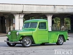 Check out this 1950 Willys Jeep pickup truck which has a wild green paint job and a 1.8-liter Isuzu diesel engine which was converted for biodiesel. Only at www.customclassictrucks.com, the official website for Custom Classic Trucks Magazine!