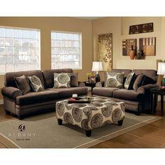 Groovy Chocolate Swirl Living Room Set