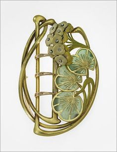 Belt buckle with lily pads and blossoms , about 1900. By: Henri Vever, French, 1854–1942. Gold, enamel, and diamond.