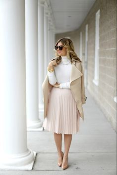 Pleated skirt with high neck sweater