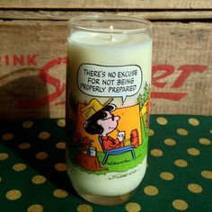 Vintage Peanuts Camp Snoopy Glass Soy Candle  There's by reSOYcle