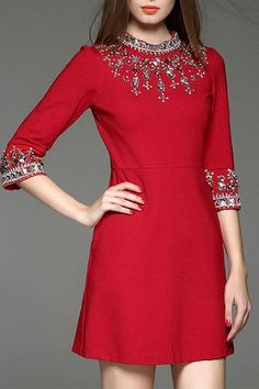 $82.99 Red Beading Stand Collar Short Dress
