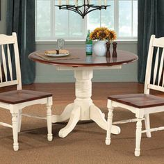 A-America British Isles Round Double Drop-Leaf Dining Table - AAME198