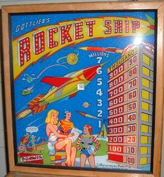 """1958 Gottlieb """"Rocket Ship"""" Pinball Backglass"""