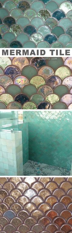Mermaid tile ideas! Lots of gorgeous tile ideas for kitchen back splashes, master bathrooms, small bathrooms, patios, tub surrounds, or any room of the house!