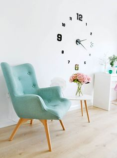 angelwing chair in duck egg White Floorboards, Scandinavian Style, Interior Inspiration, Color Pop, Bedroom Ideas, Accent Chairs, Home Improvement, Egg, Living Room