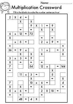10 Worksheets Multiplication Crossword Multiplication Crossword FREEBIE The children can enjoy Number Worksheets, Math Worksheets, Alphabet Worksheets, . 4th Grade Math Worksheets, Maths Puzzles, 1st Grade Math, Math Exercises, Math Multiplication, Teaching Math, Teaching Geography, Teaching Resources, Homeschool Math