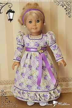18 inch American Style Doll Regency 1800s Ivory Lavender Floral Dress   eBay