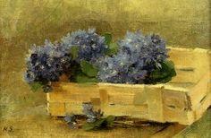 Blue Anemones in a Chip Basket - 1886