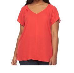 936d5f2ecbb Apt.9 Women s Raglan Sleeves Pleated V-Neck Red Blouse Top Shirt PLUS Sz 3X  NWT