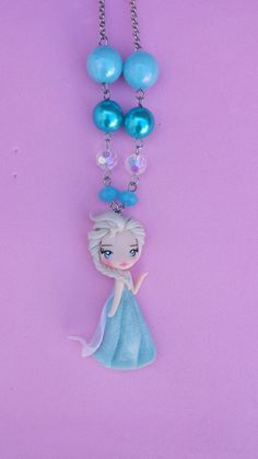 Necklace Elsa frozen in fimo, polymer clay. by Artmary2 on Etsy