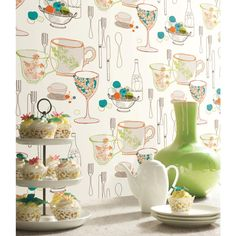 graphic tableware wallpaper by York