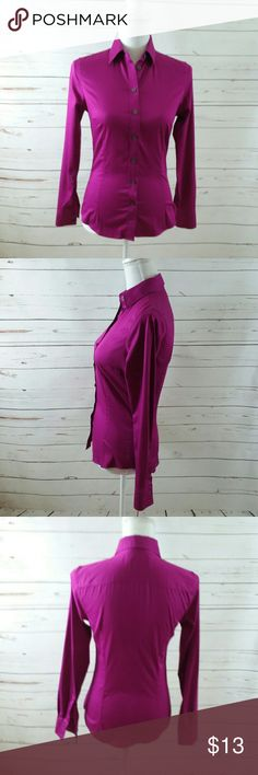 Banana Republic PURPLE NON Iron Size 0 Top Shirt This is a nice purple non iron Banana Republic button-down shirt. It is in great preowned condition is being sold without flaws or stains. Banana Republic Tops Blouses