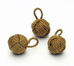 """Dennis East Mini Monkey Fist Rope Knot - 2"""" by Dennis. $2.25. Toss a miniature monkey's fist into your nautical decoration plan to add texture and variety. Made of natural colored rope, this ornamental knot is an easily recognizable symbol of maritime travel. The monkey's paw or fist is used as a weight on a heaving line to cast a line to the dock or another boat.Natural colored twine2"""" in diameter0.75 ozGreat as party favors, placed at each dinner setting, or scattered throug..."""