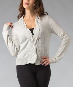 Take a look at this Gray Twist Ribbed Cardigan by Pink Ocean on #zulily today!