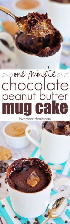 One-Minute Chocolate Peanut Butter Mug Cake ~ moist chocolate cake with a molten peanut butter center bakes up in a microwaved mug in just one minute!   http://FiveHeartHome.com