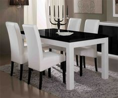 Crystal white lacquered design rectangular dining table by Granite Dining Table, White Dining Table, Counter Height Dining Table, Dinning Set, Round Dining, Dining Room Furniture, Dining Chairs, Kitchen Decor, Home Decor