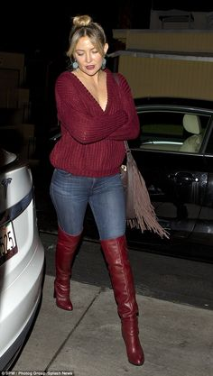 Kate Hudson looks downcast as she dines out in plunging sweater Catching the eye in raunchy over-the-knee boots, Kate, looked typically stylish as she made her way back to a waiting car. Burgundy Boots, Red Boots, Jeans And Boots, Kate Hudson, Thigh High Boots Heels, Shoes Heels, Long Boots, Looks Cool, Fall Winter Outfits