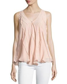Max Studio Sleeveless Flowy Georgette Blouse, Pink New offer @@@ Price :$88 Price Sale $49