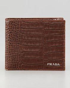 N21Y7 Prada Crocodile-Embossed Bi-Fold Wallet, Brown