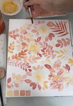 Aquarell Blumen Workshop Anleitung Watercolor Flowers Tutorial, Watercolor Pattern, Floral Watercolor, Watercolour Illustration, Watercolor Wallpaper, Watercolor Paintings, Flower Pattern Drawing, Watercolor Beginner, Posca Art