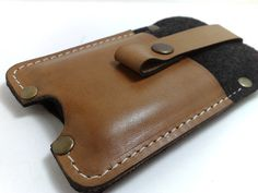 Sleeve case wallet with black felt and genuine leather by TIZART, $25.00