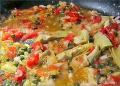The Domestic Curator: Chicken Piccata with Artichoke Hearts, Tomatoes & Capers in A Lemon-Garlic-Butter Sauce