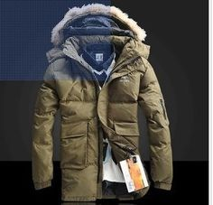 $119.24 Mens Parka Coat Fashion Plaid Zipper Stand Collar Pockets