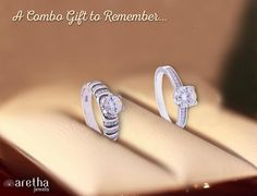 Stunning combo of 925 #sterling #silver Rhodium Plated glittering #rings decorated with gleaming white #synthetic #stones is available at half price.  Buy Now.....!!