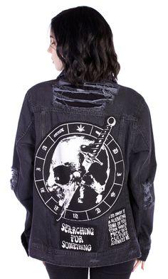 Mosh Jacket #disturbiaclothing disturbia distressed denim patches alien goth occult grunge alternative