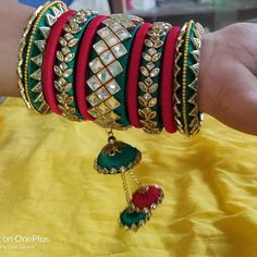 100 Latest Collection of Silk Thread Bangles With Images - Buy lehenga choli online Silk Thread Bangles Design, Silk Bangles, Silk Thread Earrings, Bridal Bangles, Thread Jewellery, Fabric Jewelry, Beaded Jewelry, Bangles Making, Handmade Jewelry Designs