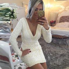 Barato Transporte rápido Branco Ivory Lace Mangas Compridas Sexy Backless…