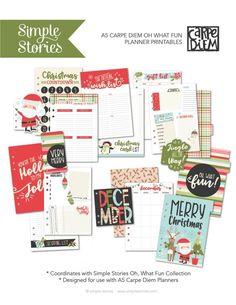 Oh What Fun Free Printables | Carpe Diem Planner | Simple Stories