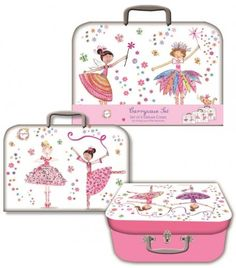 Daisy Patch Ballerinas & Fairies Storage Suitcases - Set Of 3 - Storage Boxes - Stationery Suitcase Storage, Suitcase Set, Daisy Patches, Decorative Storage Boxes, Wimpy Kid, Stationery, Fairy, Ballerinas, Kids