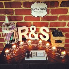 Guest book table with bird cage for cards, custom made book and disposable cameras ❤