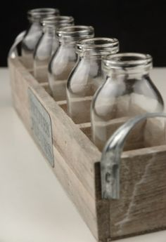 Set Of 5 Wood Crate With Milk Bottles  Adorable!!!, 45% off | Recycled Bride
