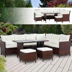 Fesselnd Poly Rattan Gartenmöbel Braun Gartenset Lounge Sitzgruppe Gartengarnitur.  Garten Garnitur Outdoor Möbel Gartengarnituren #Gartengarnitur