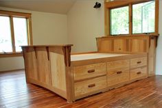 Bed With Built In Storage by Tazwood. The design challenge was to build a queen size bed with storage using wood matching existing windows. Furniture, New Furniture, Home, King Bed Frame, Bed Storage, Bed, Pallet Furniture, Bed Plans, Furniture Design