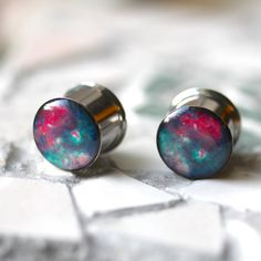Nebula Gauges Space Ear Plugs Geeky Gauges by FashionPlugs on Etsy. Would totally re gauge my ears if someone bought me these! Cute Piercings, Body Piercings, Piercing Tattoo, Ear Jewelry, Cute Jewelry, Body Jewelry, Jewellery, Tapers And Plugs, Bling