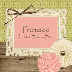 Premade Etsy Shop Set with Facebook set Green by BebeEvas