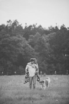 Lifestyle farm engagement with dog in Summerville, SC. Photography by husband and wife team Billie Jo and Jeremy Photography