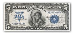 In 1899, the US Government issued a new Silver Certificate featuring an engraved portrait of Chief Running Antelope, a Hunkpapa Sioux.  $2875.00