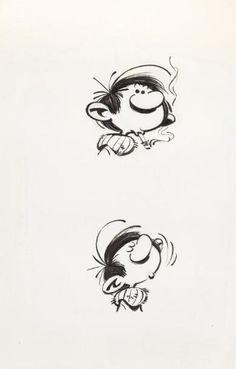 FRANQUIN. Deux dessins de tête de Gaston. Encre de Chine sur papier. 6 x 6,5 cm . - Millon & Associés - 12/03/2011